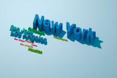 Top Ten größte US-Städte Lizenzfreie Stockfotos