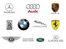 Top Ten Luxury Car Brands Logos Stock Images