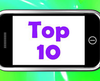 Top Ten On Phone Shows Best Ranking Or Rating Royalty Free Stock Images