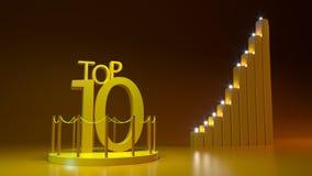 Top Ten On a Platform in Golden Color With columns 3D Illustration vector illustration