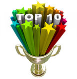 Top Ten Ranking List Showing Best Choices and Quality. A golden with the words Top 10 in a burst of colorful stars, illustrating the ten choices that have stock illustration