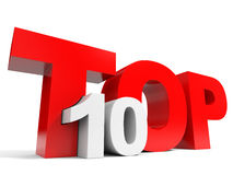 Top 10. Ten. Red 3d text. Stock Photo