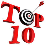 Top ten red word with target and arrow Royalty Free Stock Photo