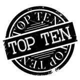 Top Ten rubber stamp. Grunge design with dust scratches. Effects can be easily removed for a clean, crisp look. Color is easily changed Royalty Free Stock Photography