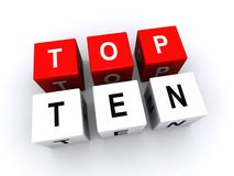 Top ten sign. 3d illustration of top ten sign isolated on white background Royalty Free Stock Images