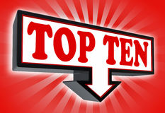 Top ten sign with arrow. Down red and black on red striped background. clipping path included Royalty Free Stock Image