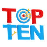 Top ten sign with dart target as an Royalty Free Stock Photo