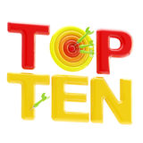 Top ten sign with an o as a dart target. Top ten red and yellow sign with an o as a dart target isolated on white vector illustration