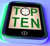 Top Ten On Smartphone Shows Selected Ranking Royalty Free Stock Photo