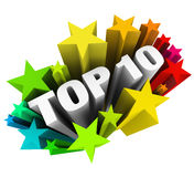 Top 10 Ten Stars Celebrate Best Review Rating Award. Top 10 words surrounded by colorful stars or fireworks celebrating your rating or review as one of the best Royalty Free Stock Photography