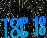 Top Ten Word And Fireworks Showing Stock Images
