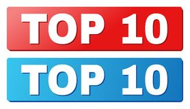 TOP 10 Text on Blue and Red Rectangle Buttons. TOP 10 text on rounded rectangle buttons. Designed with white caption with shadow and blue and red button colors vector illustration