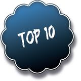 TOP 10 text written on blue round label badge. Illustration Royalty Free Stock Image