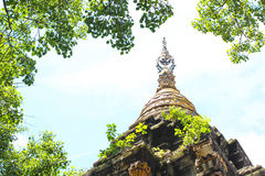 The top of thai pagoda in natural scene, arounded by banyan leaf. The top of thai pagoda in natural scene, arounded by sky and banyan leaf, a symbol in buddhism Stock Photography