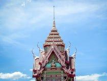 Top of Thai temple achitecture. On blue sky stock photos