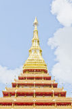 Top of Thai temple style in Khon Kaen Thailand. Top of Thai temple style on blue sky in Khon Kaen in Thailand Royalty Free Stock Images