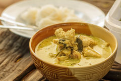 Thai green curry chicken intense soup and thai noo. Dles Stock Photos