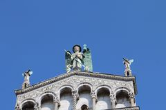 The upper part of San Michele in Foro - the Roman Catholic Churc royalty free stock photos