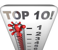 Top 10 Thermometer Ten Best Choices Review Award Rating. Top 10 words on a thermometer measuring, reviewing or rating the ten best choices or scores for Stock Photo