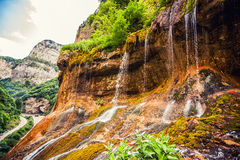 Top tier of Chegem waterfalls in canyon Stock Photography