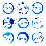 Top 50 to top 100 collection of round watercolor. Top 50 to top 100 collection of round watercolor stains with top 50 to 100 text. Set of vector Top 50 to top Stock Illustration