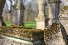 Top of a tomb in abandoned cemetery Royalty Free Stock Images