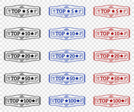 Top 5, top 10, top 20, top 50, top 100 stamp. Set of black, red, blue stamp Vector Illustration