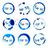 Top 50 Top 100 zur Sammlung des runden Aquarells Stockbilder