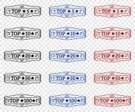Top 5 topp 10, topp 20, topp 50, topp 100 stämpel vektor illustrationer