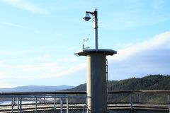 Top of tower of The trail trees Lipno Lookout. Meteorological station on top of tower of The trail trees Lipno Lookout in Czech Republic Stock Photos