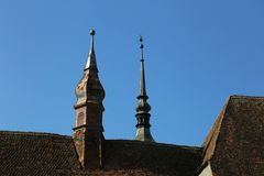 Top of the towers church Royalty Free Stock Image