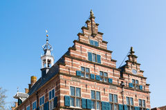 Top of town hall Naarden, Netherlands. Top facade of town hall with stepped gables in old town of Naarden, North Holland, Netherlands royalty free stock photo