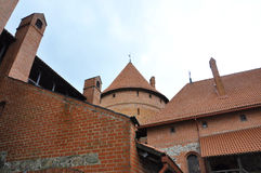 Top of the Trakai Castle from island Trakai in Lithuania Royalty Free Stock Photography