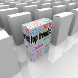 Top Trends Best Product Most Popular New Hot Item Merchandise. Top Trends words on a box on store shelf to illustrate the most popular or best new product Royalty Free Stock Photos