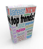 Top Trends Popular Product Box Package Latest Newest Ideas Hot I. Top Trends words on a 3d product box or package to illustrate the latest, newest or most Stock Photos