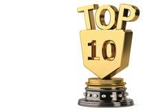Top 10 trophy,3D illustration. Top 10 trophy isolated on white background. 3D illustration vector illustration