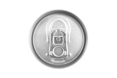 Top of an unopened  can. Isolated on white background Royalty Free Stock Image