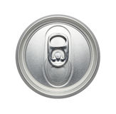 Top of an unopened soda or beer can, Realistic photo image. Can pull tab Isolated on a white background royalty free stock photo