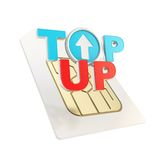 Top-up emblem icon over sim card chip microcircuit Royalty Free Stock Image