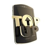Top-up emblem icon over smart mobile phone concept. Black golden top-up glossy emblem icon over smart mobile phone concept isolated on white Stock Photos