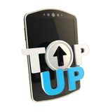Top-up emblem icon over smart mobile phone concept Royalty Free Stock Images