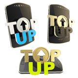 Top-up emblem icon over smart mobile phone Stock Photos