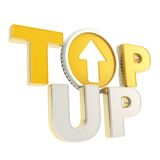 Top-up emblem icon with up arrow coin Royalty Free Stock Images