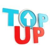 Top-up o ícone do emblema com a moeda ascendente da seta Fotos de Stock Royalty Free