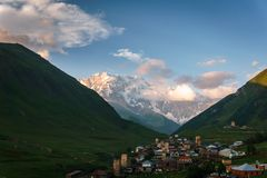 Top Ushba in the Caucasus. In Svaneti, Georgia Royalty Free Stock Photos