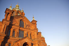 Top of Uspensky Cathedral, in Helsinki, Finland. Evening view of the Uspensky Cathedral in Helsinki, Finland Royalty Free Stock Image