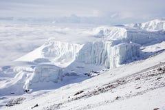 Top van Kilimanjaro, Zuidelijke Icefield Royalty-vrije Stock Afbeelding