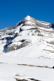Top van Monte Perdido die met sneeuw wordt behandeld Stock Foto