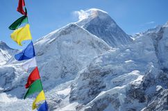 Top van onderstel Everest of Chomolungma - hoogste berg, Nepal Royalty-vrije Stock Foto's