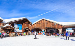 Top Verdons  lift station.  Ski Resort Courchevel 1850 m. In wintertime. France Royalty Free Stock Photo